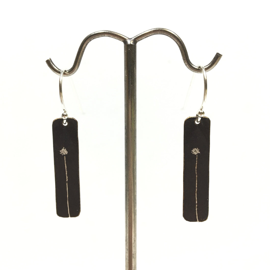 Oxidized Sterling Earrings - 1 Dandelion