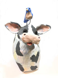 Ceramic Cow with Blue Bird - Large