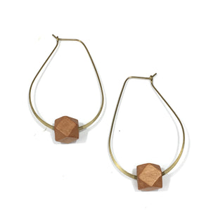 Teardrop Diffuser Earrings - Wood Hex
