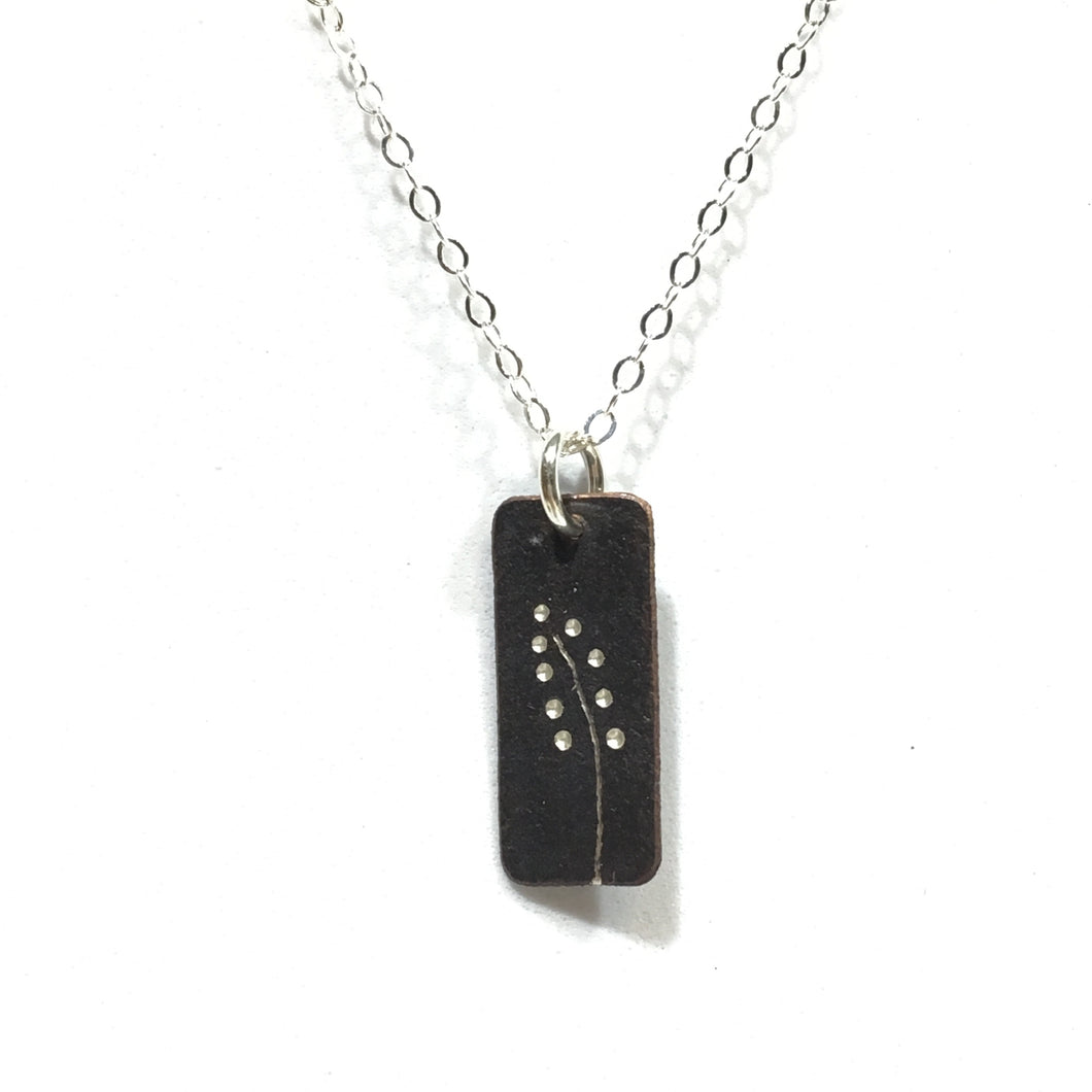 Oxidized Sterling Pendant - Dot Floral