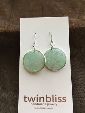 Sparkle & Shine Artisan Earrings - Large Circle/Clear Green
