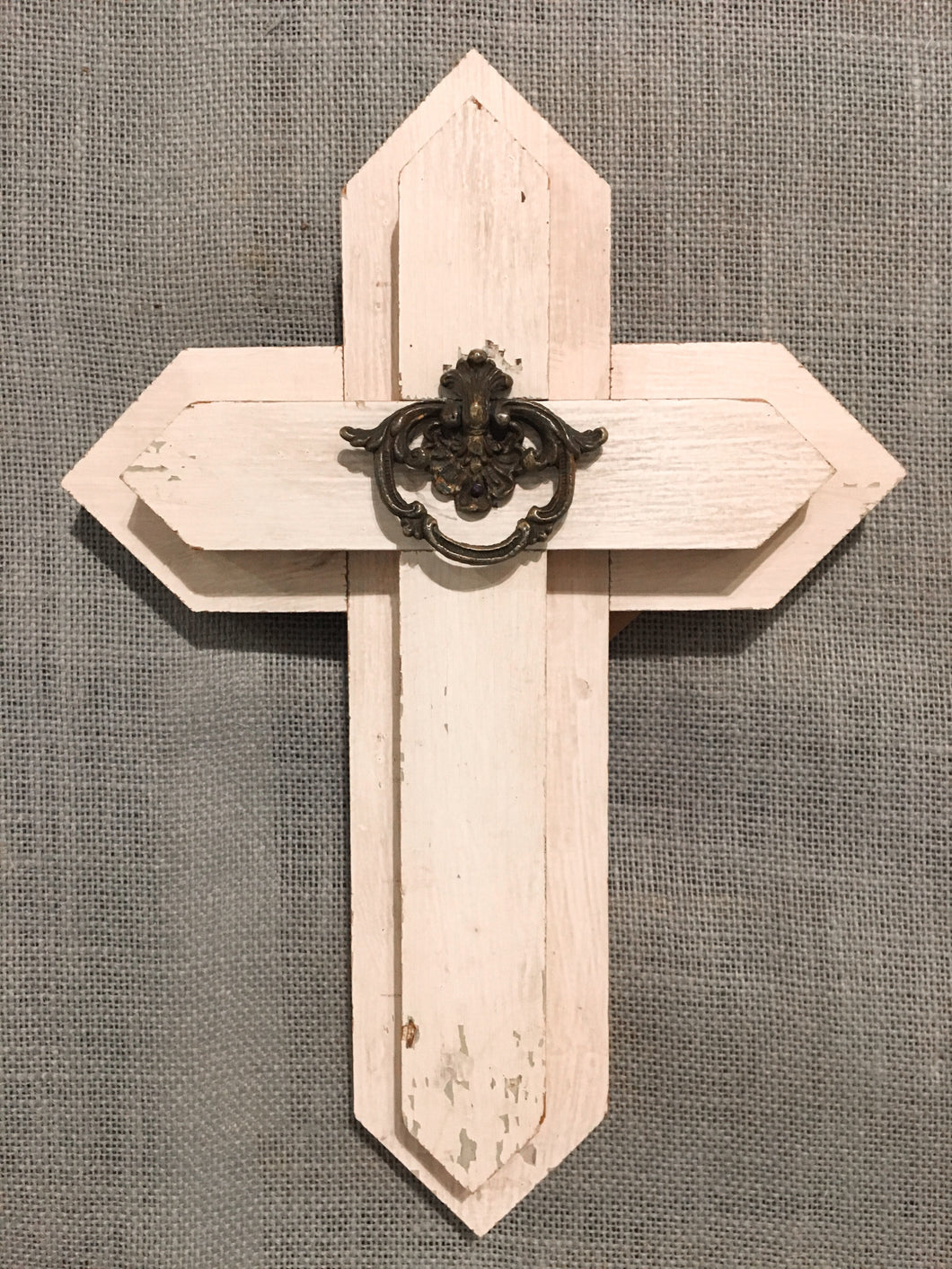 Small Wood Cross - white with round drawer pull