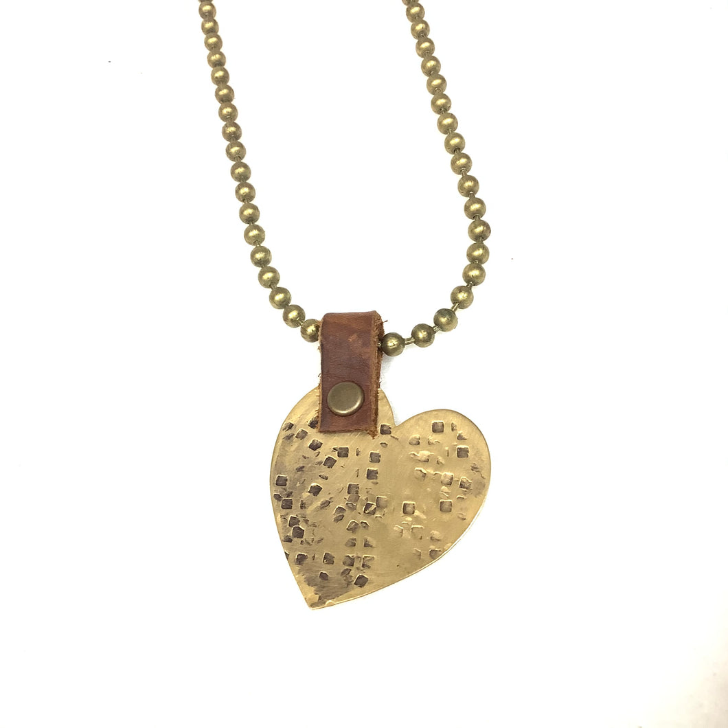 Gold Hammered Heart Necklace