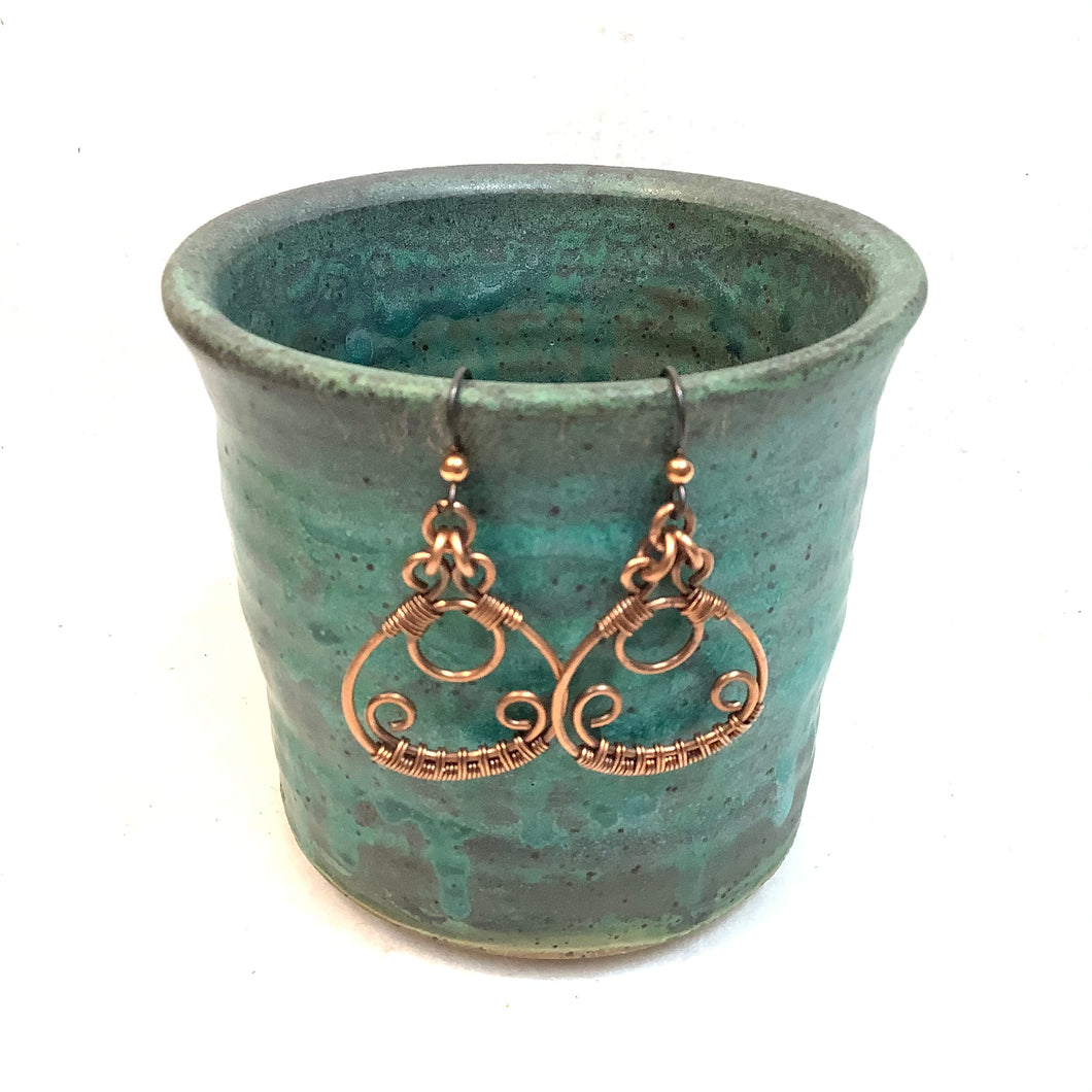 Ornate Hoop Copper Earrings