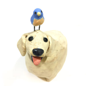 Yellow Dog with Bluebird