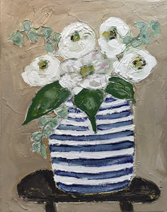 White Bloom in Blue Vase