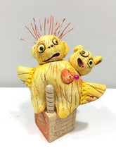 Clay Sculpture, 2-sided Stuffie Rattle, Two Headed Doll with Removable Base, Yellow-Red