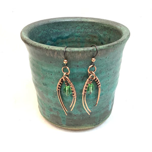 Woven Arch with green gem Copper Earrings