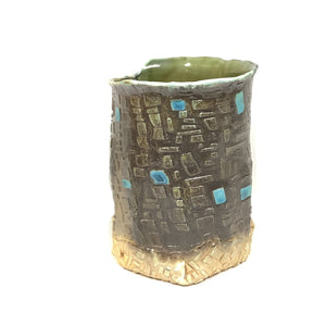 Vase, Brown with Turquoise