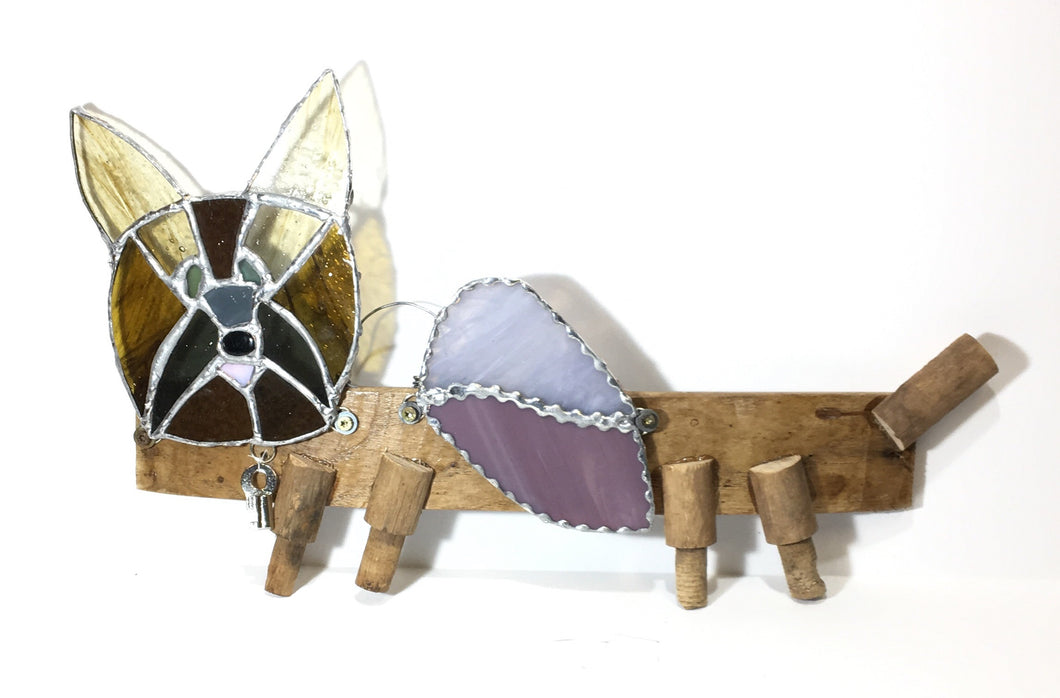 Guardian Glass Angel Dog - amber and purple