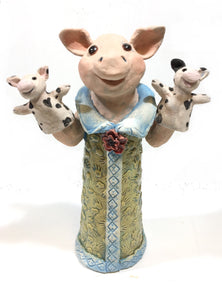 Ceramic Pig with Pig Puppets Sculpture