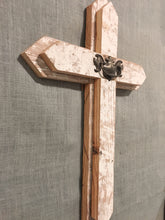 Large Wood Cross - white with brass handle