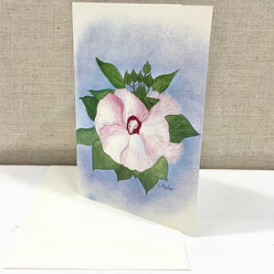 Hibiscus Luna Pink Swirl Watercolor Card