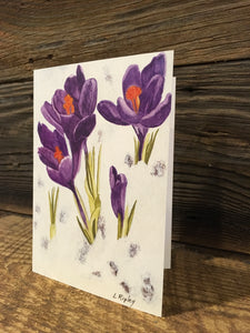 Purple Crocus Watercolor Card