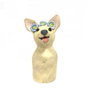 Ceramic Chihuahua with Daisy Chain