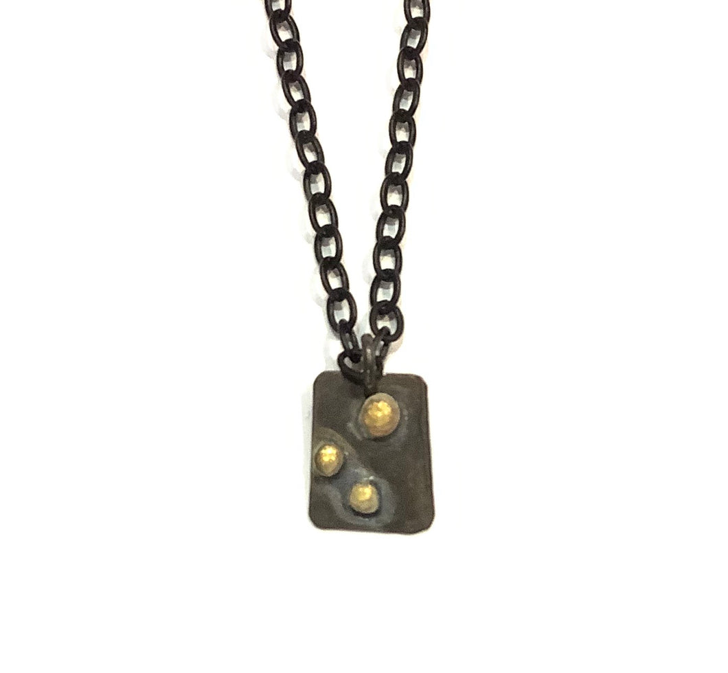 Gold Dots on Black Pendant