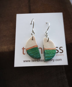 Earth & Sky Artisan Earrings - Petite Moon/Green