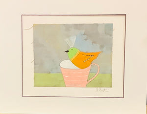 Orange and Green Bird in Pink Cup