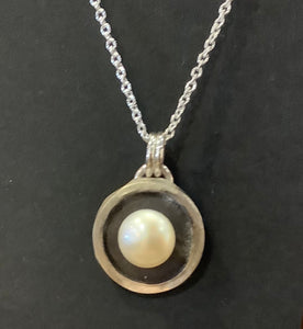 Pearl on Black Silver Pendant