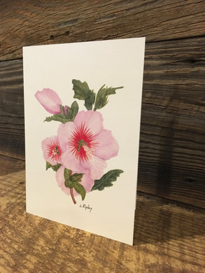 Rose of Sharon (Althaea) Watercolor Card