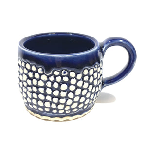 Blue Ceramic Mug with carved texture