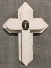 Small Wood Cross - white with keyhole