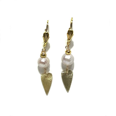Earrings - French Gold Vermeil Wires with Fresh Water Pearls and Gold Plated Hearts