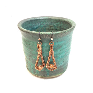 Wrapped Drop with light bead Copper Earrings