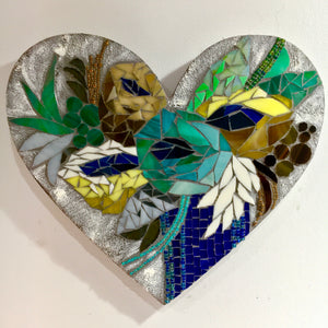 Turquoise and Navy Floral Heart Mosaic