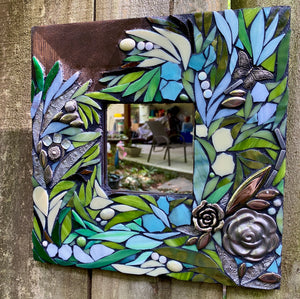Flowing Floral Mosaic Mirror