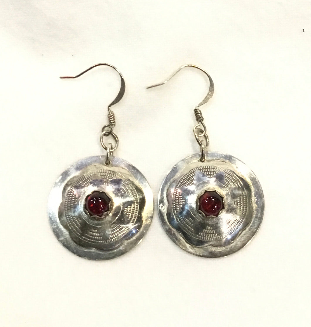Ruby and Sterling Earrings