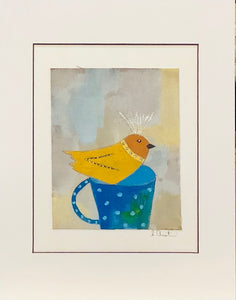 Yellow Bird in Blue Cup