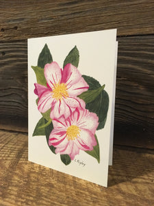 "Camellia Sasanqua ""StarsNStrips"" Watercolor Card"