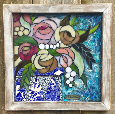 Roses and Blue Willow Framed Mosaic
