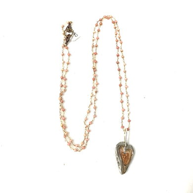 Pink Opal with Heart Necklace