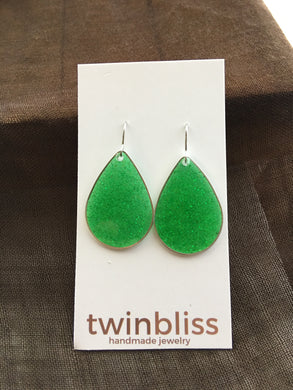 Sparkle & Shine Artisan Earrings - Large Silver Drop/Green