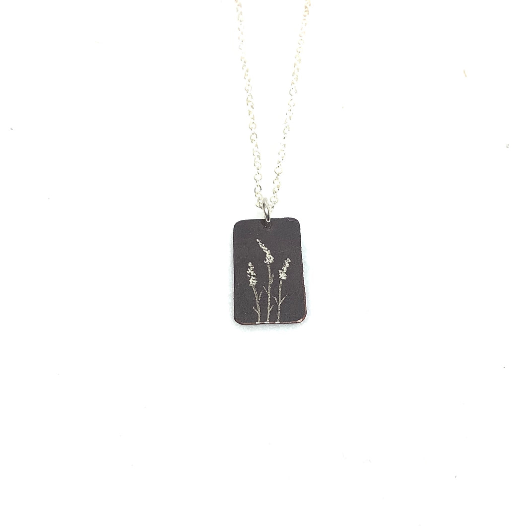 Oxidized Sterling Pendant - 3 Butterflies