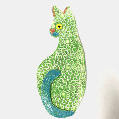 Ceramic Hanging Cat - Green