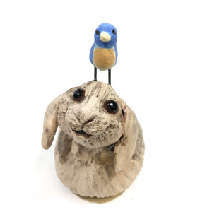 Lop Earred Rabbit with Bird