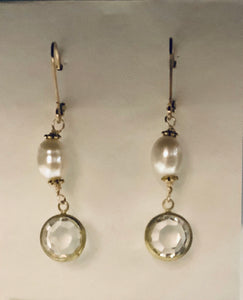 Earrings - Gold Plated Ear Wires with Freshwater Pearls and Vintage Gold Dangles
