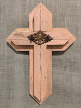 Small Wood Cross - pink with brass