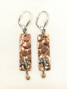 Beehive Copper & Sterling Bees Earring