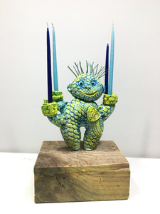 Clay Sculpture, Four-Arm Candelabra, Blue-Green-Yellow Stuffie
