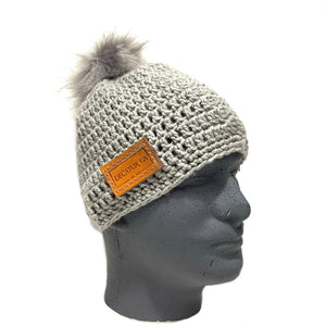 Gray Sock Hat with Leather Tag