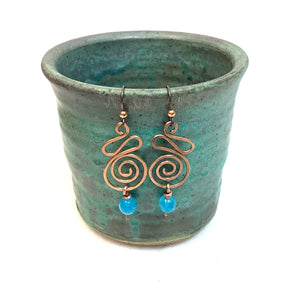 Curl Spiral with light blue bead Copper Earrings