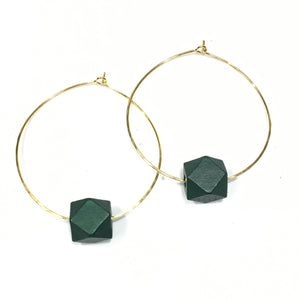 Hoop Diffuser Earrings - Wood Hex
