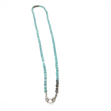 Necklace made of Sterling Silver and Amazonite Beads