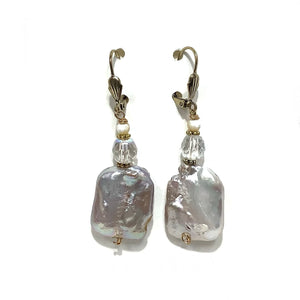Earrings - Baroque Fresh Water Pearls with Czech glass crystal on Gold Vermeil wire