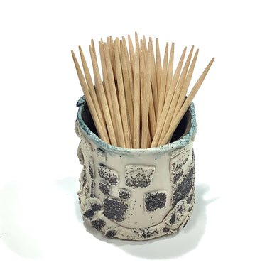 Toothpick Holder, White and Black