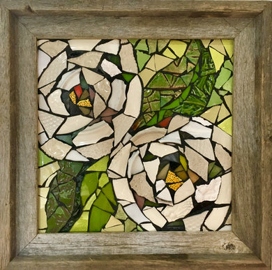 White Floral in Frame Mosaic